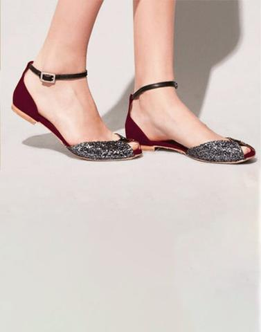 Shiny Open Toe Flats