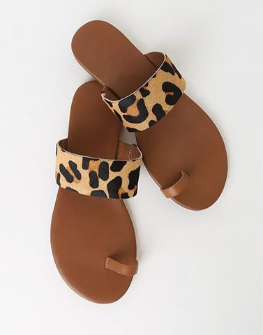 Animal Print Toe Ring Flats