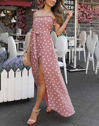 Polka Pink Slit Dress