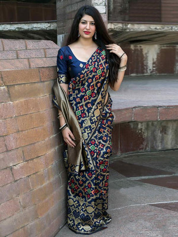 Trishulom Multicolored Soft Silk Printed Saree