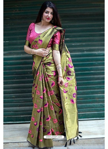 Trishulom Multicolored Soft Silk Printed Rich Saree