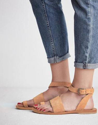 Camel Brown Strappy Flats