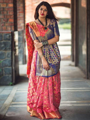 Trishulom Multicolored Soft Silk Printed Elegant Saree