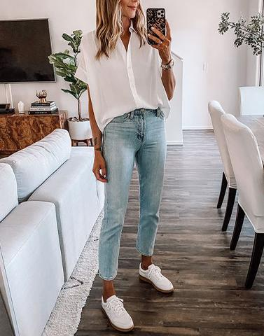Go With All White Crape Shirt Top