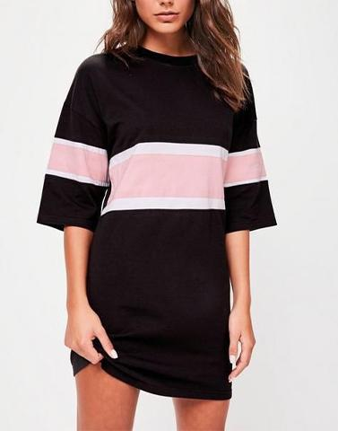 Black Drop Pink Strip Tee-Dress