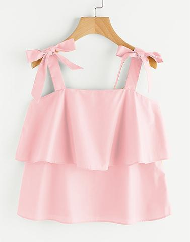Pink Bow Tie Flounce Top