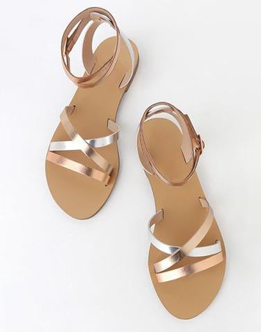 Silver Roses Strappy Flats