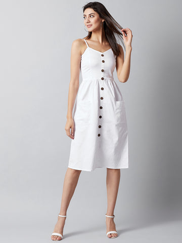 Buttoned White Midi Dress