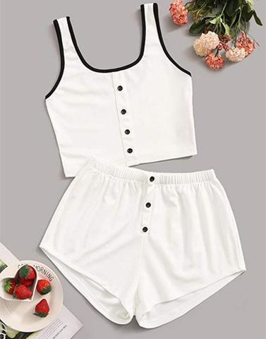 White Chic Flick Nightwear Set
