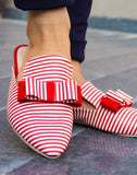 Red White  Stripe Mule Flats