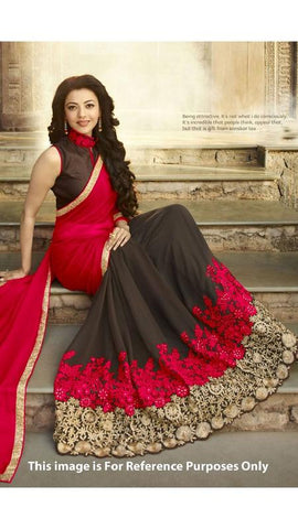 Trishulom Red And Coffee Colored Georgette Embroidered Saree