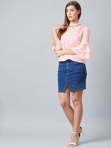 Cute Neck Pink Bell Sleeves Top