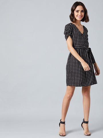 Polka Dot Hot Neck Dress