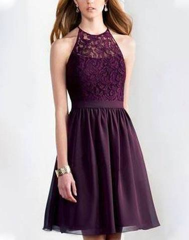Glamorous Wine Holter Neck Lace Dress