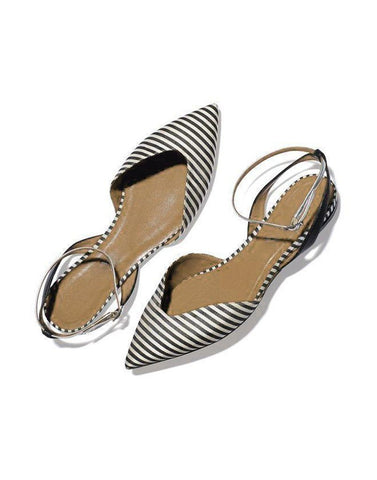 Black White Stripes Flats