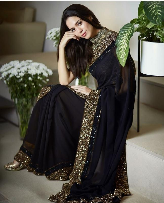Vora Fashion Black Color Georgette Sequence Work Saree With Golden Color Banglori Silk Blouse Piece
