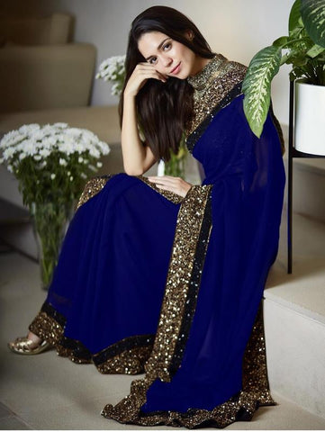Vora Fashion Blue Color Georgette Sequence Work Saree With Golden Color Banglori Silk Blouse Piece