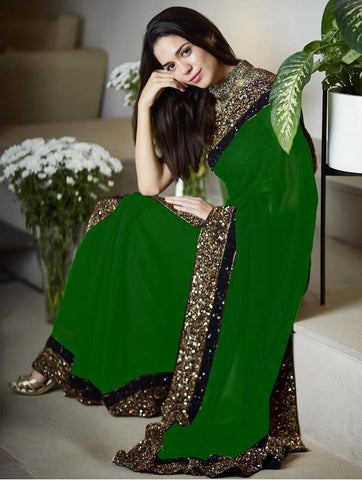 Vora Fashion Green Color Georgette Sequence Work Saree With Golden Color Banglori Silk Blouse Piece
