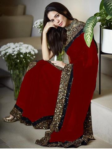 Vora Fashion Red Color Georgette Sequence Work Saree With Golden Color Banglori Silk Blouse Piece
