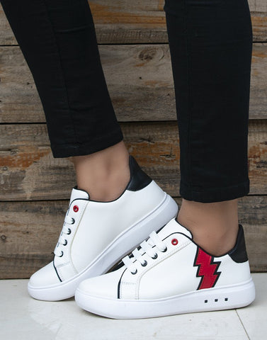 Skylight White And Red Sneakers