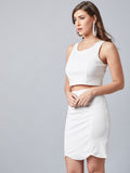 Moda Off White Top With Skirt