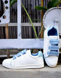 Day-Walk White & Blue Sneakers