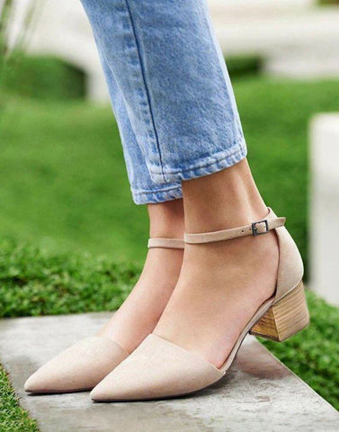 Block Pointed Toe Beige Heels