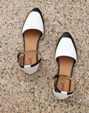 Black White Ankle Strap Belly Flats