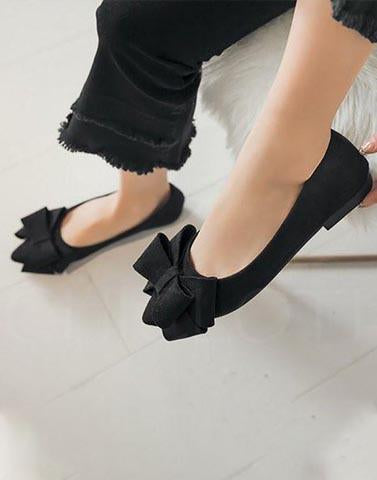 Black Buy Me Bows Ballerinas
