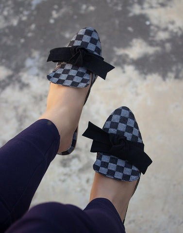 Black Denim Checked Bow Flat Mules