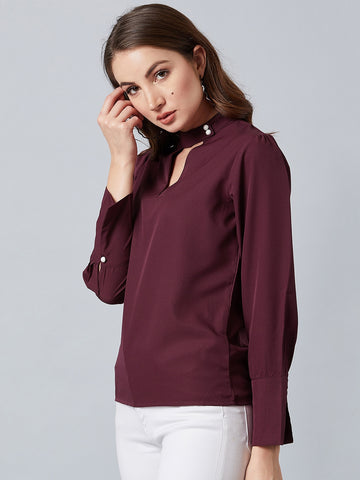 Style Maroon Choker Neck Bell Sleves Top