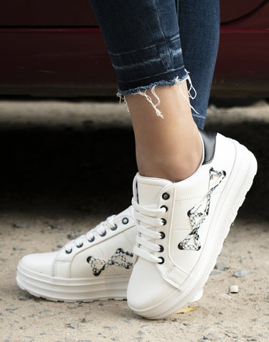 Lace Tie Up White Sneakers