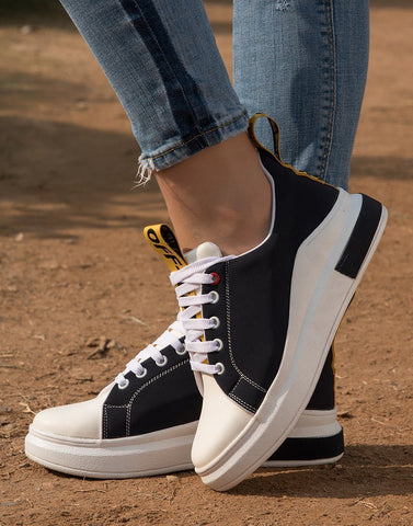 Trendy Black Taped Sneakers