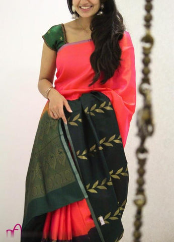 Trishulom Multicolored Soft Silk Polished Saree