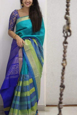 Trishulom Multicolored Soft Silk Stylish Designer Saree