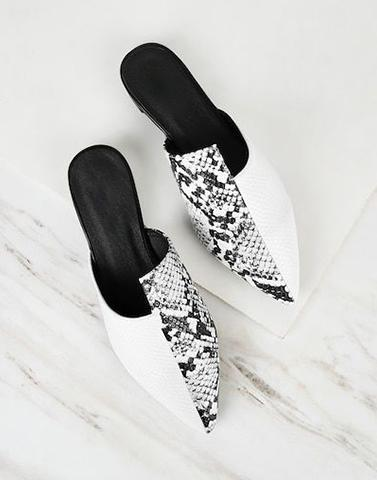Wild Night Snake Skin Mules