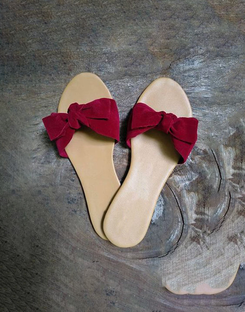 Gathered Maroon Everyday Flats