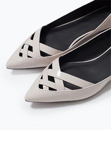 Cute Cut Out Cream Flats