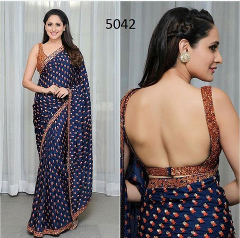 Trishulom Blue Colored Georgette Classy Embroidered Saree