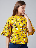 Flying Flowers Floral Yellow Top