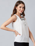 White Sleeveless Bow Buttoned Top