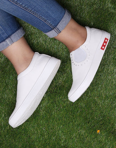 Pure White Slip On Sneakers