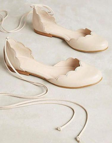 Beige Lace Up Ballerina