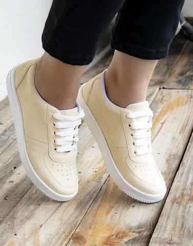 Pastel Yellow Textured Sneakers