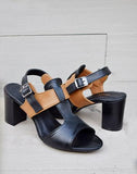 Buckled Leather Block Heels