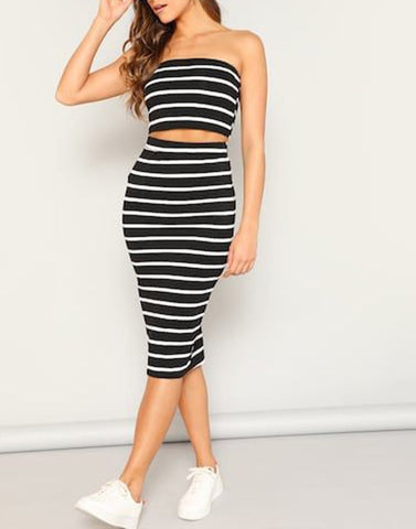 Simply Stripped Black And White Pair Set