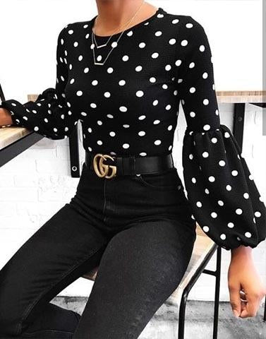 Polka On My Sleeve Black Top