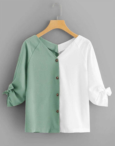 Dazzling Duo Green And White Top