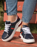 Navy Blue Taped Sneakers