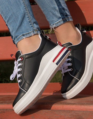 Black Back Bow Sneakers